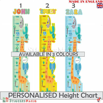 Personalised Height Chart Wall Sticker Safari Animal Girl Boy Kids Growth Ruler