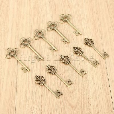 10pcs 2 Style Skeleton Key Charms Pendants Gift Jewelry Findings Wedding Favors