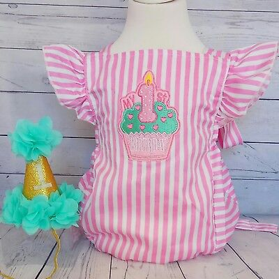 baby girl first 1st birthday outfit cake smash photo shoot prop party romper hat