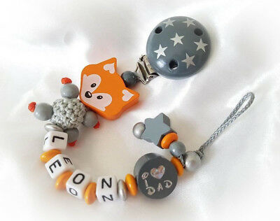 ★ Schnullerkette mit Namen ☆ Junge ★ Fuchs ☆ I love MOM DAD ★ Taufe ★