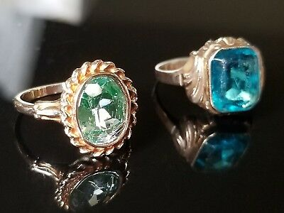 Lot Of TWO 10k Art Deco Antique/vintage Rings With Blue Stones