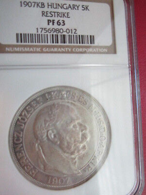 HUNGARY 1907 **40th ANNIVERSARY OF CORONATION OF FRANZ JOS ** 5 KORONA  NGC PF63