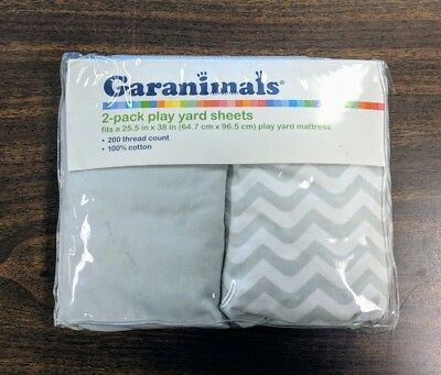 "New GARANIMALS 2 Pack & Play Yard Sheets Gray White Chevron Stripe 25.5"" X 38"""