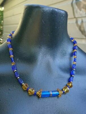 Vintage Art Deco Glass Bead Blue Yellow Necklace Egyptian Revival Style