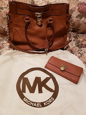 3cee003d84fc7c MICHAEL KORS Large Hamilton Saffiano Leather orange tote , and wallet