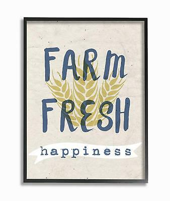 Stupell Industries Farm Fresh Happiness frumento extra large con scritta Framed