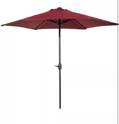 Abba Patio 9 Ft Market Umbrella with Push Button Tilt and Crank 8 Steel Ribs Red