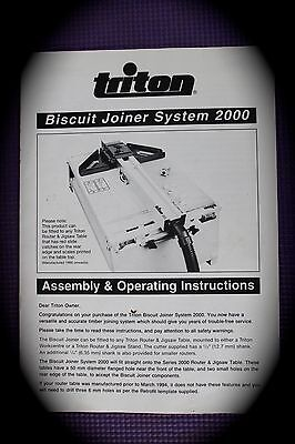 Triton biscuit joiner 2000 model Assembly and operation instructions Manual