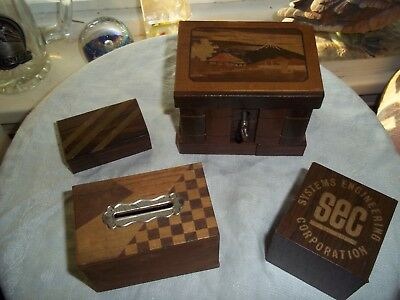 4 Special Vintage Antique Secret Box Key Wood Old As Is Read Puzzle