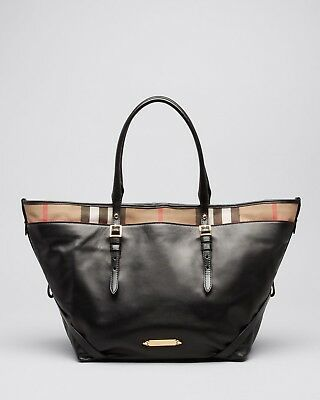 1748d70f7ba7 BURBERRY BLACK LEATHER Tote Bag NO SCRATCHES OR CREASES! -  360.00 ...