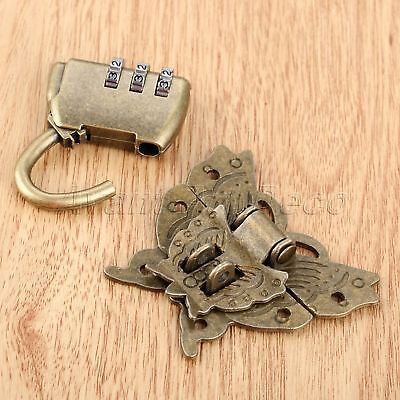Antique Bronze Password Padlock Lock Key with Butterfly Box Latch Clasp Hardware
