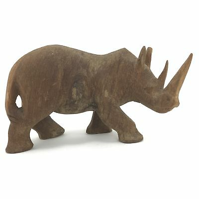 Vintage FOLK ART Hand Carved WOOD RHINOCEROS Animal Figurine Wooden Rhino