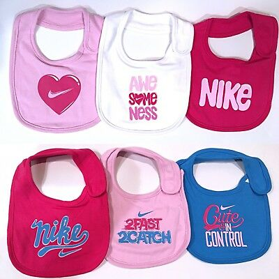 Nike Baby Bibs 3 Pack Set  Infant Girls Pink/Blue One Size New