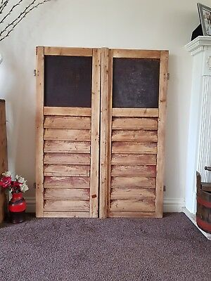 Large  VINTAGE WOODEN European window shutters shabby chic rustic