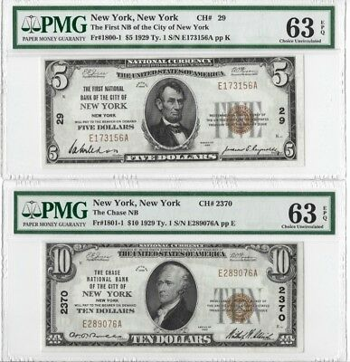 Lot of (2) 1929 National Banknotes New York - PMG 63 EPQ
