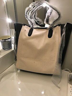 J Crew Signet Tote Bag In Canvas And Italian Leather Brand New