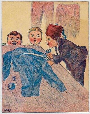 """DEVIL CHILDREN"" (1885) WHAT ARE THEY DOING? Victorian Trade Card TURKISH TAILOR"