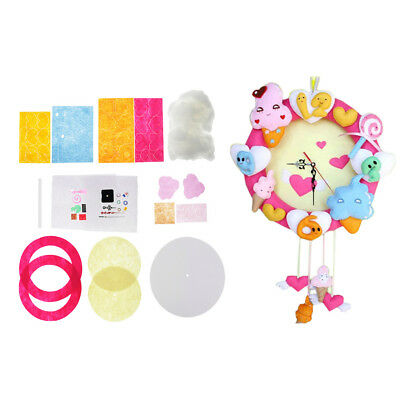 Baoblaze DIY Ice Cream Clock Wall Hanging Felt Applique Kit Sewing Projects