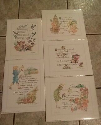 """New Sealed Vintage Lot of 5 Nursery Rhymes 8"""" x 10"""" Color Lithos by ME Hodges"""