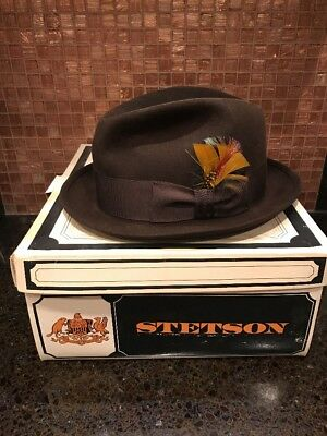 5e9ec874780 STETSON MEN S WOOL Fedora Hat Brown Made In USA Sz 7 1 8 -  50.00 ...