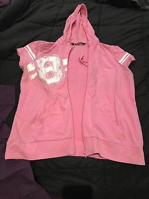 Women's Plus Size 18 Short Sleeved Pink Zippered Hoodie