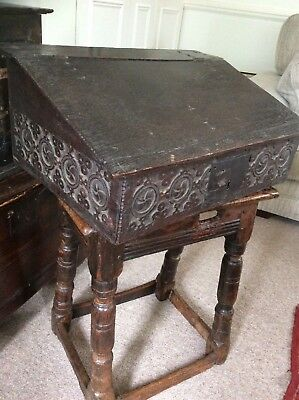 17Th Century Oak Bible Box/slope Circa 1650 Fitted Interior 3 Drawers...