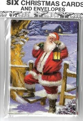 Pack Of Six Traditional Glitter Santa Robin Snowman Christmas Cards & Envelopes