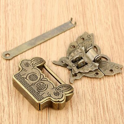 Chinese Old Padlock Fortune Blessing Lock Key with Butterfly Box Latch Clasp Set