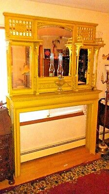 Amazing Large Antique Oak 2 piece Fireplace Mantle with 3 mirrors and shelves
