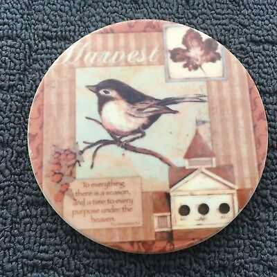 "HARVEST BIRD ""Brown"" Beautiful Country Decorative Ceramic Drink Coaster"