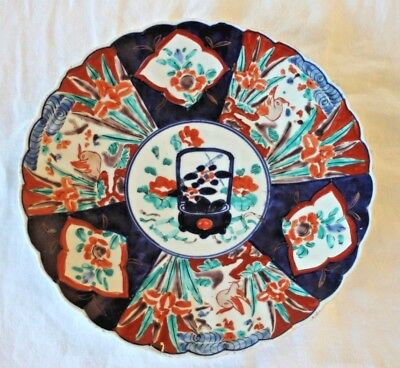 Antique large japanese arita imari hand painted charger plate