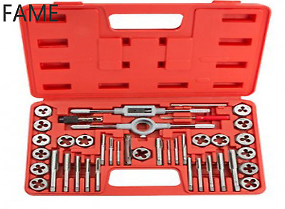 40Pcs Metric Tap And Die Set Wrench Cuts M3-M12 Bolts + Hard Case