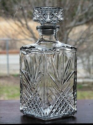 Crystal Clear Cut Glass 9 1/2 Inch Contemporary Decanter from Italy