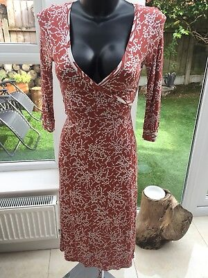 5824188ec2d FRENCH CONNECTION WRAP dress size 12 red copper floral midi - $6.38 ...