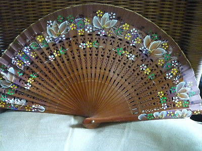 Brown Wooden Two Side Handpainted Folding Hand Fan from Spain New!