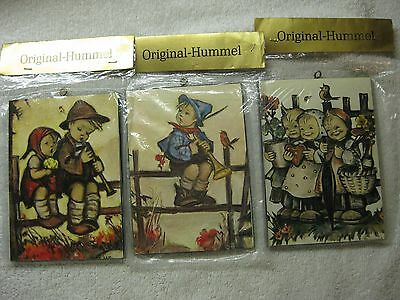 "(3) Vintage Original Hummel 5 1/2"" Inch Wood Plaque In Original Packaging"
