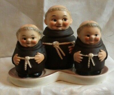 Goebel Friar salt, pepper shakers with mustard jar on tray