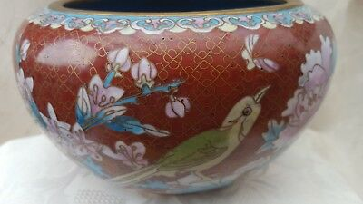Vintage Chinese Cloisonne Enamel Bowl Birds & Flowers Very Good Condition