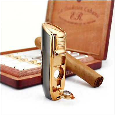 Jobon Triple Torch Flame Butane Cigarette Windproof Jet Lighter (Box Included)