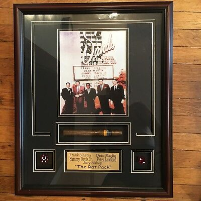 The Rat Pack Las Vegas Sands Hotel Photo w Cigar & Dice 22 x 18 Matted & Framed