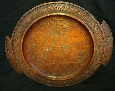 ⭐ Antique Carved Wood Platter (rustic serving plate) Polynesian Haiwian ⭐