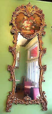 Antique Gilt Wood Wall Mirror With Rococo Motifs And Painted Floral Panel
