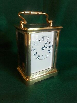 Antique Brass French 8 Day Carriage Clock with key