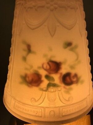 Pair of Antique Reverse Painted Frosted Glass Shades 2 ¼ Inch Fitter