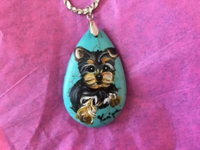 Beautiful!! Yorkie Hand Painted On Genuine Turquoise Necklace