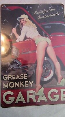 GREASE MONKEY Garage Car Art Pinup Vintage Metal Sign (FACTORY SEALED)