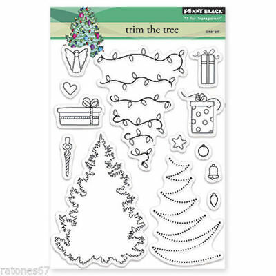 New Penny Black TRIM THE TREE Clear Stamps Christmas Ornaments Presents Angel