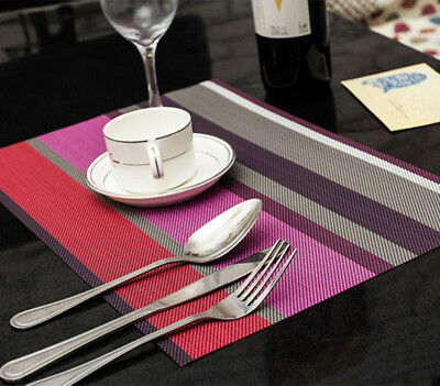 Colorful Table Cloth Mat Dinner Plate Coaster Cushion Placemat 2pcs PVC Striped