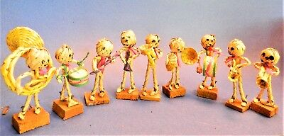 """REDUCED!! Day of the Dead Minature 9 Piece Woven Straw Band/3""""-4"""" tall/AMAZING!"""