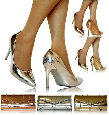 Womens Party Prom Bridal Metallic Patent Stiletto High Heel Court Shoes -6689